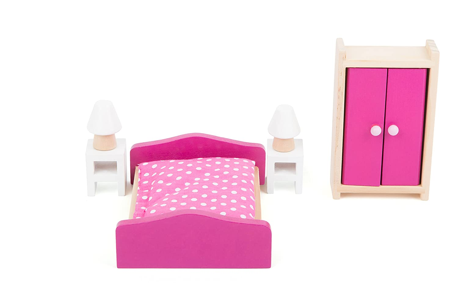 Double Bed Small Foot 10874 Wooden Furniture for The Living Room in The Dollhouse Bedside Tables incl Suitable Ideal Doll Accessories for Children from 3 Years and up Lamps and Wardrobe