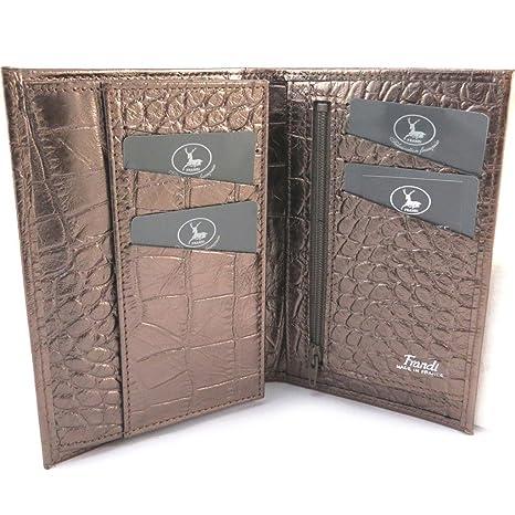 Francés cuero cartera Frandide metal de color marrón (cocodrilo).