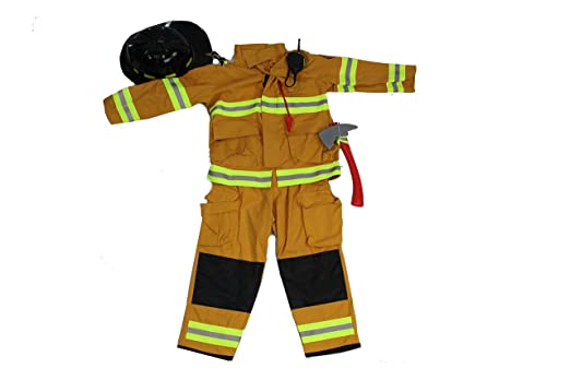 teetot authentic boys fireman halloween costume firefighter size 5 6 tan - Fireman Halloween