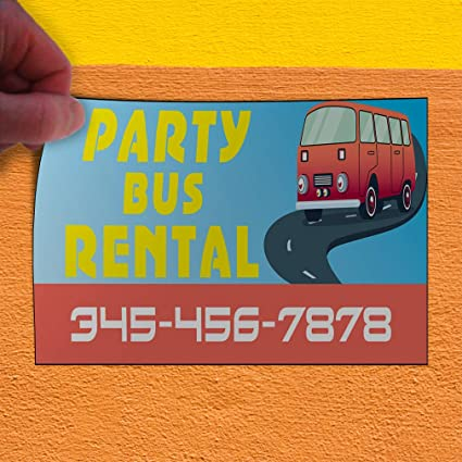 Custom Vinyl Banner Sign Multiple Sizes Party Bus Rentals Phone Number Business Personalized Marketing Advertising Red 4 Grommets 28inx70in Set of 2