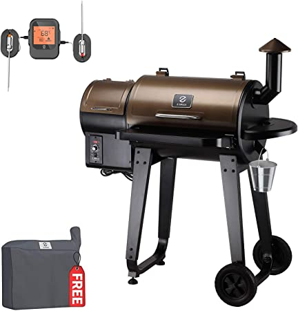Amazon Com Z Grills Wood Pellet Grill And Smoker 2020 New Model Outdoor Bbq Grill With Patio Cover And Wireless Meat Thermometer Zpg 450apro Kitchen Dining