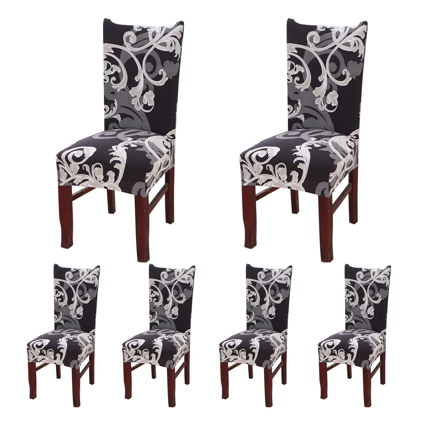 SHDIBA 6 x Stretch Short Dining Room Chair Protector Cover with Printed Pattern Seat Slipcover for Wedding Party, Banquet,Ceremony,Dining Room, Hotel (6, 10)