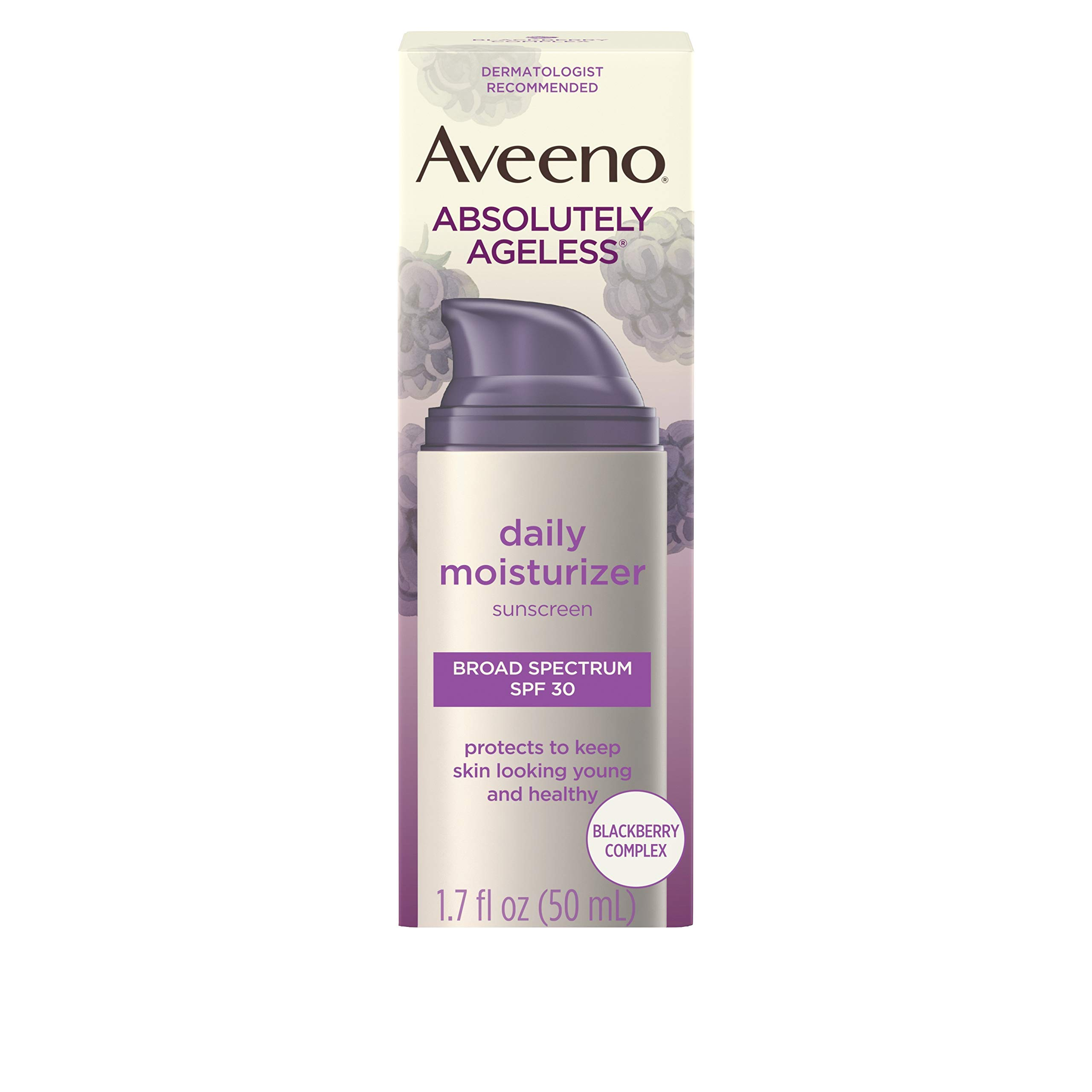 Aveeno Absolutely Ageless Daily Facial Moisturizer with Broad Spectrum SPF 30 Sunscreen, Antioxidant-Rich Blackberry Complex, Vitamins C & E, Hypoallergenic, Non-Comedogenic & Oil-Free, 1.7 fl. oz by Aveeno