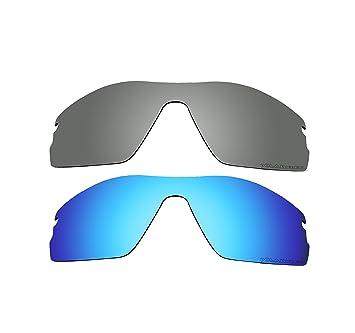 2 pares bvanq polarizadas de recambio para Oakley Radar Pitch Iridium Lentes Azul y Negro Gafas