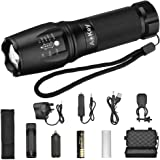 LED Torch,Aokey Ultra Super Bright Tactical Flashlight LED T6 Flashlight Adjustable Focus 5 Light Models Waterproof Handheld Mini Torch Kit for Hiking,Cycling,Camping and other Outdoor Sports