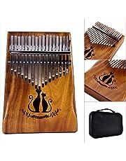 EDTara 17 Key Kalimba Thumb Piano Solid Solid African Mahogany Wood Finger Piano (Couple Cat)