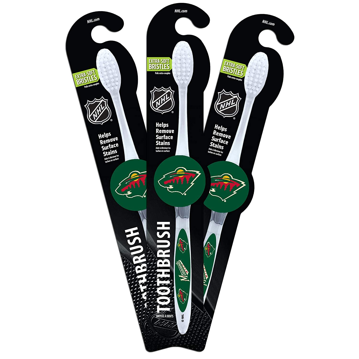 Pack 3 Worthy Promo NHL Minnesota Wild Toothbrush Clear