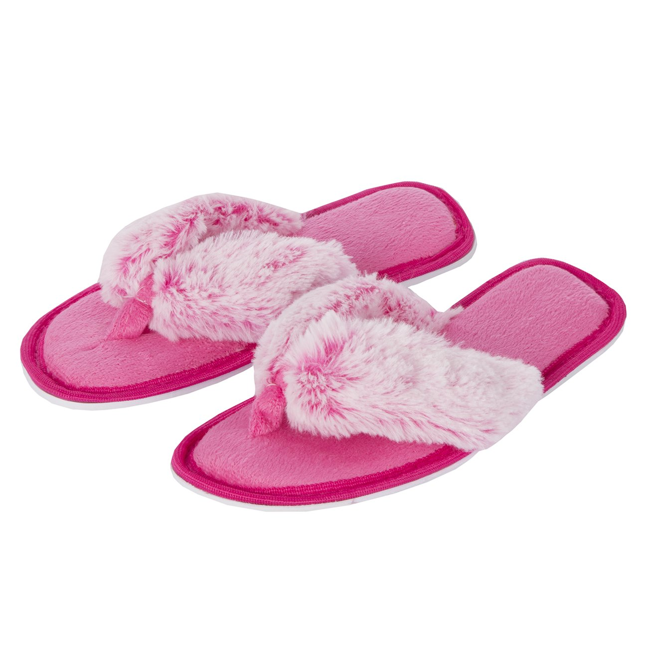 15fd07241 Forever Dreaming Womens Open Toe Memory Foam Faux Fur Indoor Flip Flop  Thong Slippers