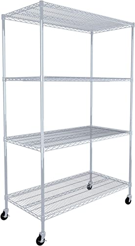 SafeRacks NSF Certified Commercial Grade Adjustable Steel Wire Shelving Rack with Wheels 24 x48 x72 4-Tier