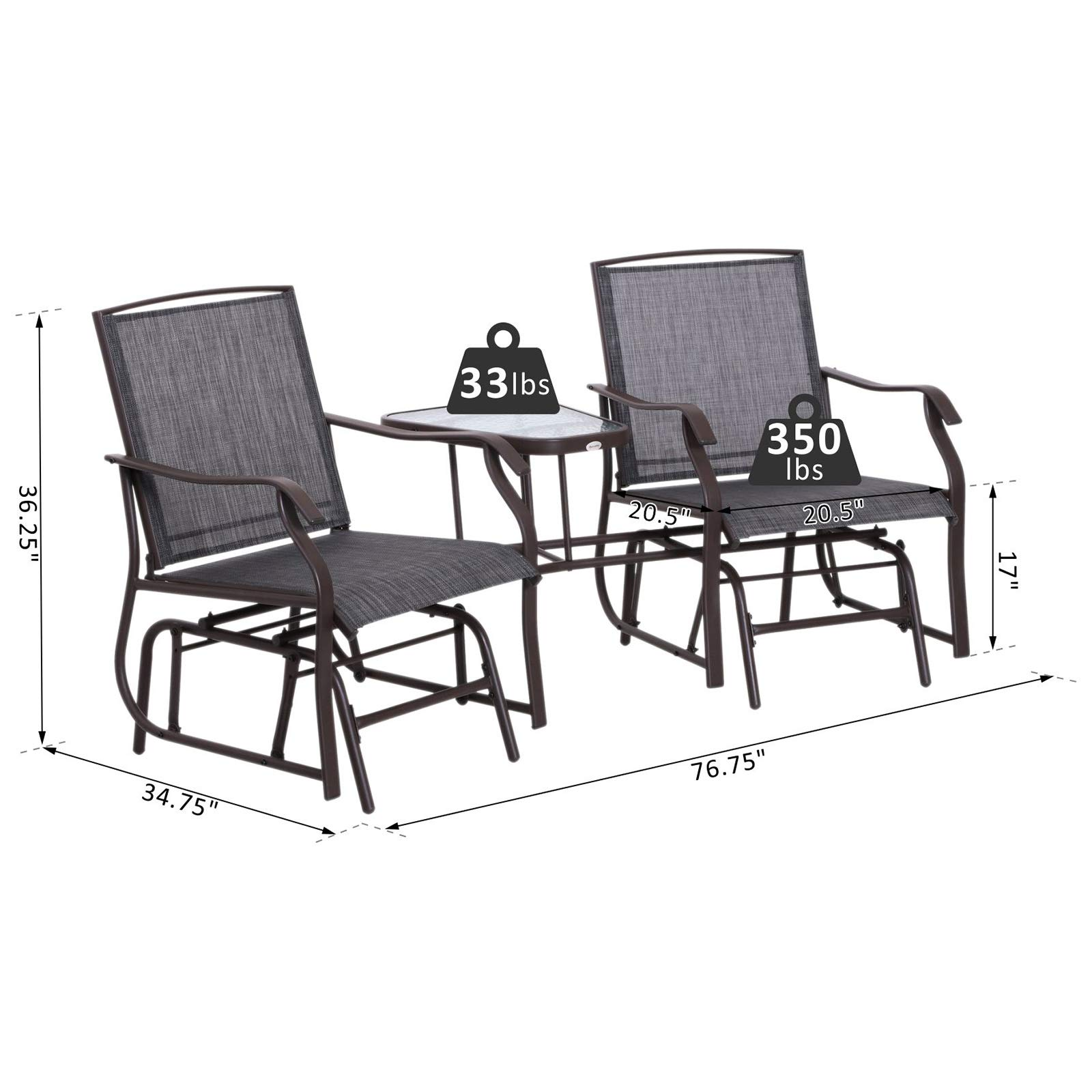 Outsunny 2 Person Outdoor Sling Fabric Double Glider Rocker Chair with Table by Outsunny (Image #7)