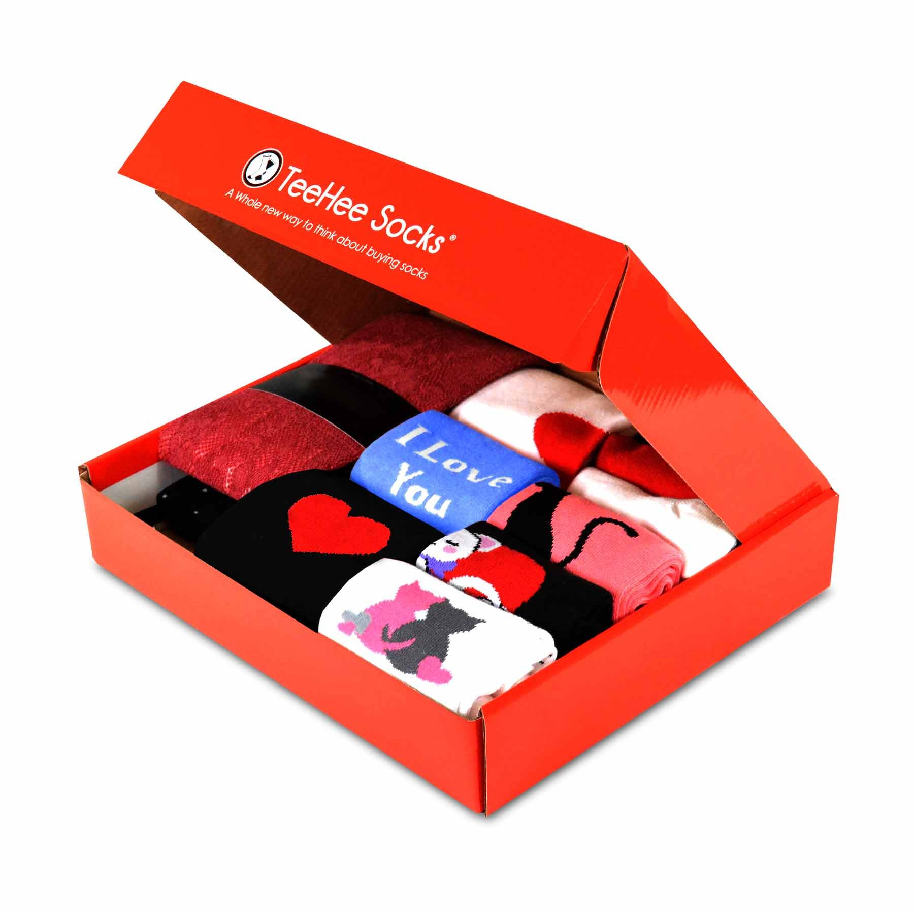 TeeHee Gift Box 12-Pairs of Socks for Women (M/L, Valentine's Day)