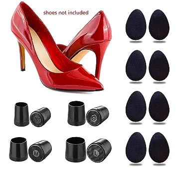 9c62390a426 ifory 8 Pcs Heel Repair Caps Heel Covers for High Heel Shoes & 8 Pcs Rubber  Non-Slip Shoe Grip Pads...