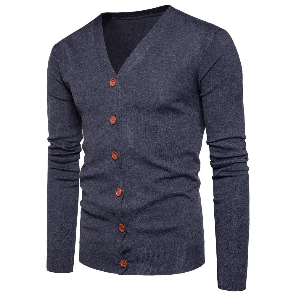 Men's Jacket for Men Autumn Winter Button V Neck Knit Sweater Cardigan Coat, Pea Coat Ennglun