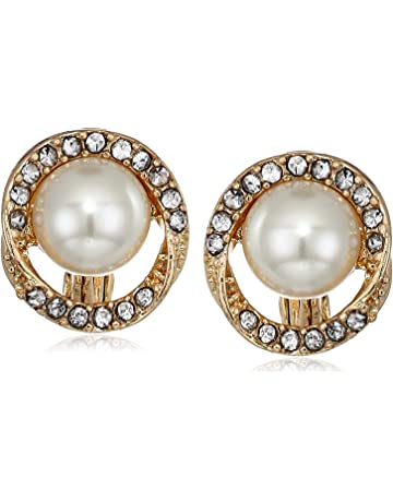 83394c6d0 Anne Klein Women's Gold/Pearl/Crystal Pave Halo Twist Button Ez Comfort Clip  Earrings