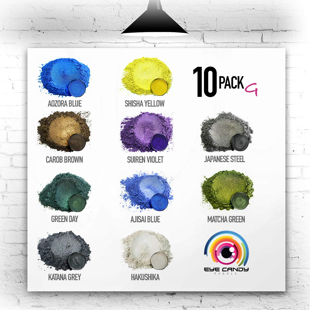 Eye Candy Mica Powder - Pigment Powder 10-Pack Set G - Colorant for Epoxy - Resin - Woodworking - Soap Molds - Candle Making - Slime - Bath Bombs - Nail Polish - Cosmetic Grade - Non-Toxic