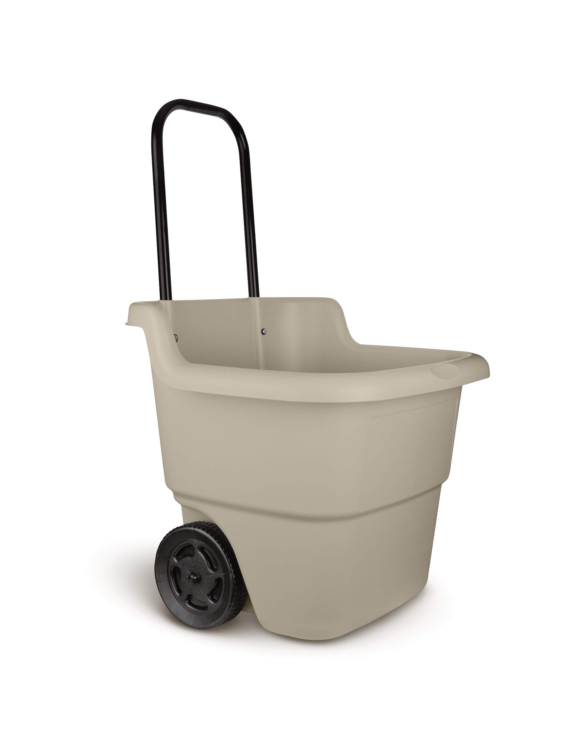 Suncast 2 -Wheel Resin Rolling Lawn Cart with Handle - 15.5 Gallon Garden Cart - Lightweight and Durable Portable Cart - Taupe