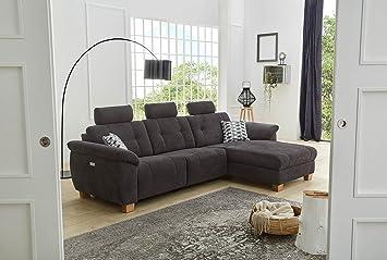 Lifestyle4living Wohnlandschaft In Schwarzem Microfaserstoff Sofa
