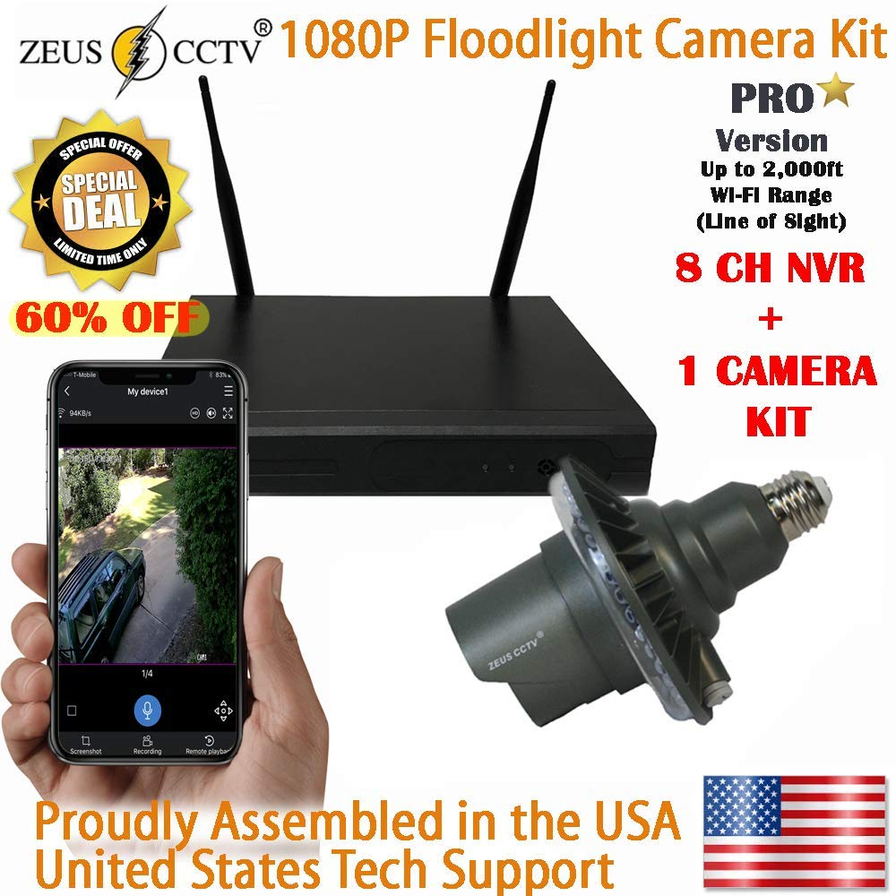 Zeus Pro Series WiFi Floodlight Home Security Camera Kit ZCPRO-0801