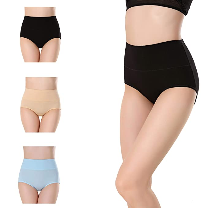 a61b4b33effe Finrray Women's High Waist Underwear No Muffin Top Cotton Briefs Solid  Color Tummy Control Underpants Stretch Panties at Amazon Women's Clothing  store: