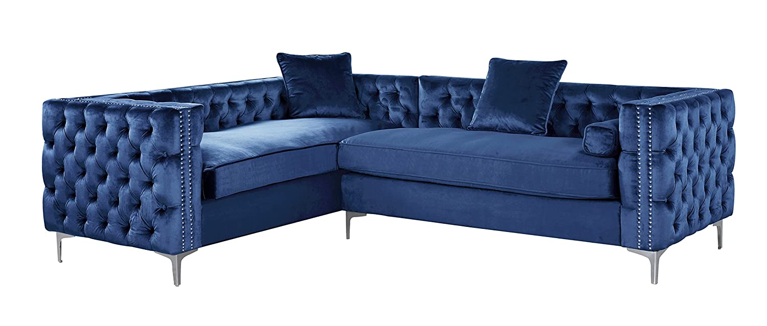 Iconic Home FSA2847-AN Mozart Left Hand Facing Sectional Sofa L Shape Velvet Button Tufted with Silver Nail Head Trim Silvertone Metal Y-Leg with 3 Accent Pillows Modern Contemporary Navy
