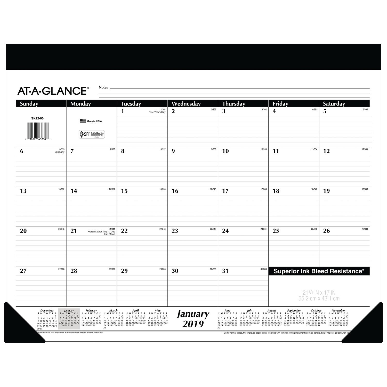AT-A-GLANCE 2019 Monthly Desk Pad Calendar, 22'' x 17'', Standard, Refillable (SK2200)