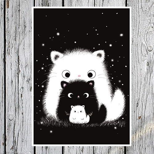 TinyTami Katzen Postkarte ★ Kater MOO★Familie★Katzenfamilie★Liebe ★Katze★Handmade