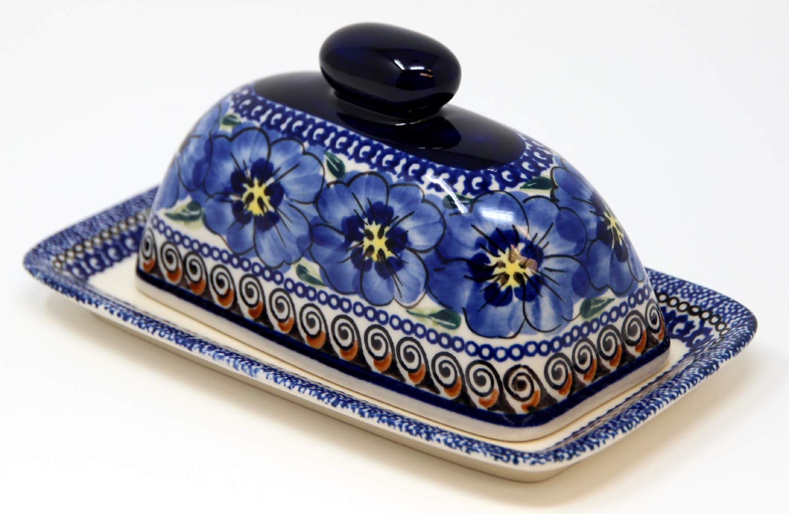 Polish Pottery Butter Dish 4'' X 7'' From Zaklady Ceramiczne Boleslawiec 1377-148 Art Unikat Signature Pattern, Dimensions: 7.5 Inch X 4.4 Inch