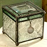 J Devlin Box 409 Green Stained Glass Jewelry Keepsake Box Gift for Sister Decorative Trinket Box Vintage Home Decor Sister Charm