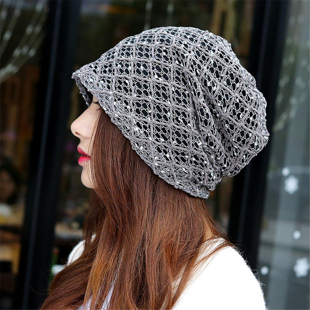 Baotou in primavera e in autunno mese Cap Hat femmina turbante di piacere unico cappello pile inverno street cappuccio di testa per circonferenza testa 56cm-59cm,56-59cm,Griglia a toni di grigio