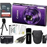 CanonPowerShot ELPH 360 HS 20.2MP 12x Zoom Full-HD 1080p Wi-Fi Digital Camera (Purple) + SanDisk 32GB Card + Reader + Spare Battery + Case + Accessory Bundle