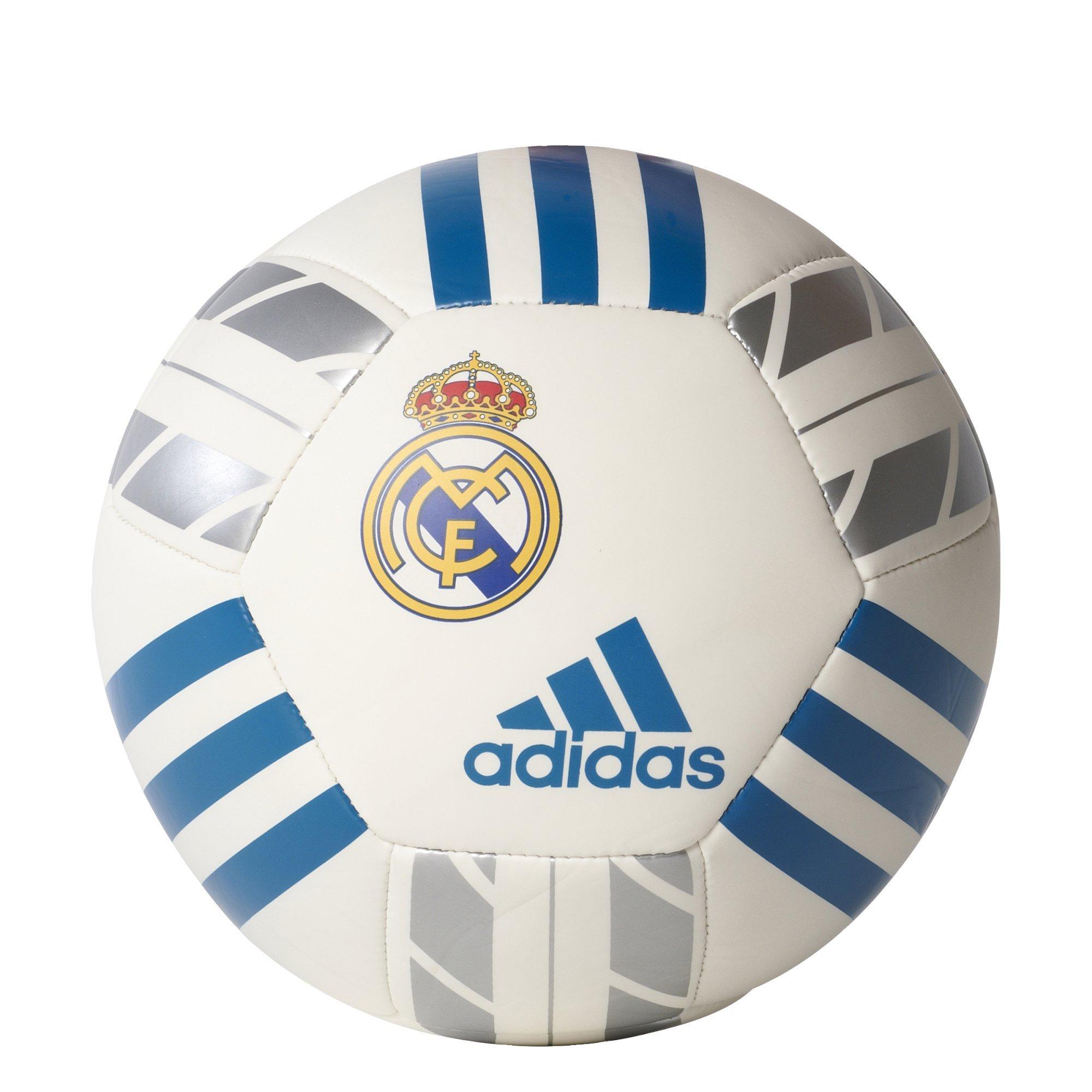 adidas Performance Real Madrid Soccer Ball, White/Vivid Teal/Silver Metallic, 1