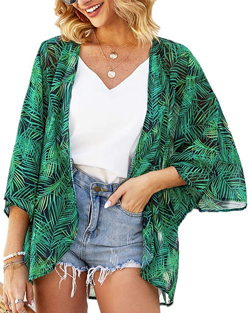 Women's Floral Print Puff Sleeve Kimono Cardigan Loose Cover Up Casual Blouse Tops