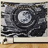 Dremisland Luna y Estrella Tapiz de Pared Mandala Colgar en la Pared Tarot Tapices Manta de Pared Blanco y Negro para…