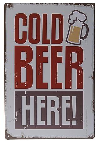 Amazon.com: Cartel de chapa cerveza fría aquí Metal Póster ...