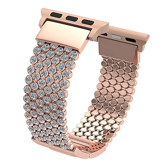 4ad7032dc9 SWAWS Bling Bands for Apple Watch Band 42mm Fashion Rhinestones Stainless  Steel Metal Replacement Wristband Sport Strap for Apple Watch Series ...