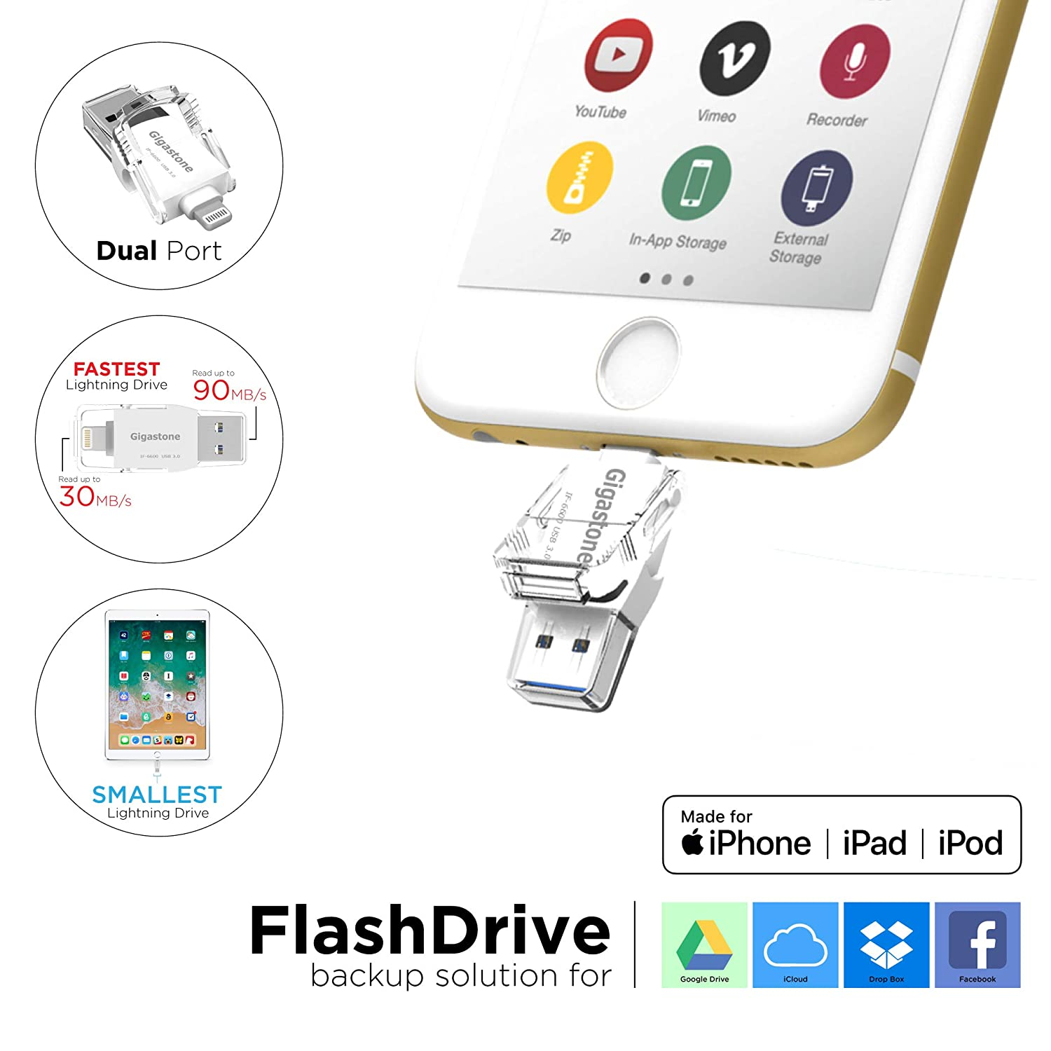 [Apple MFi Certified] Gigastone 64GB iPhone Flash Drive, Lightning and PC  USB 3 0, Super App for iOS iPad, Backup Facebook Instagram Dropbox Google