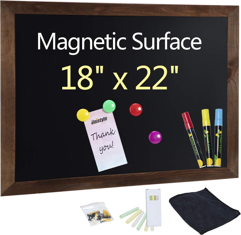 "Unistyle Magnetic Chalkboard for Wall ,Large Framed Decorative Chalkboard Easy to Erase,ChalkBoards with Wood Frame,Hanging Chalkboard for Kitchen Decor, Weddings, Restaurant Menus 18""x22"""