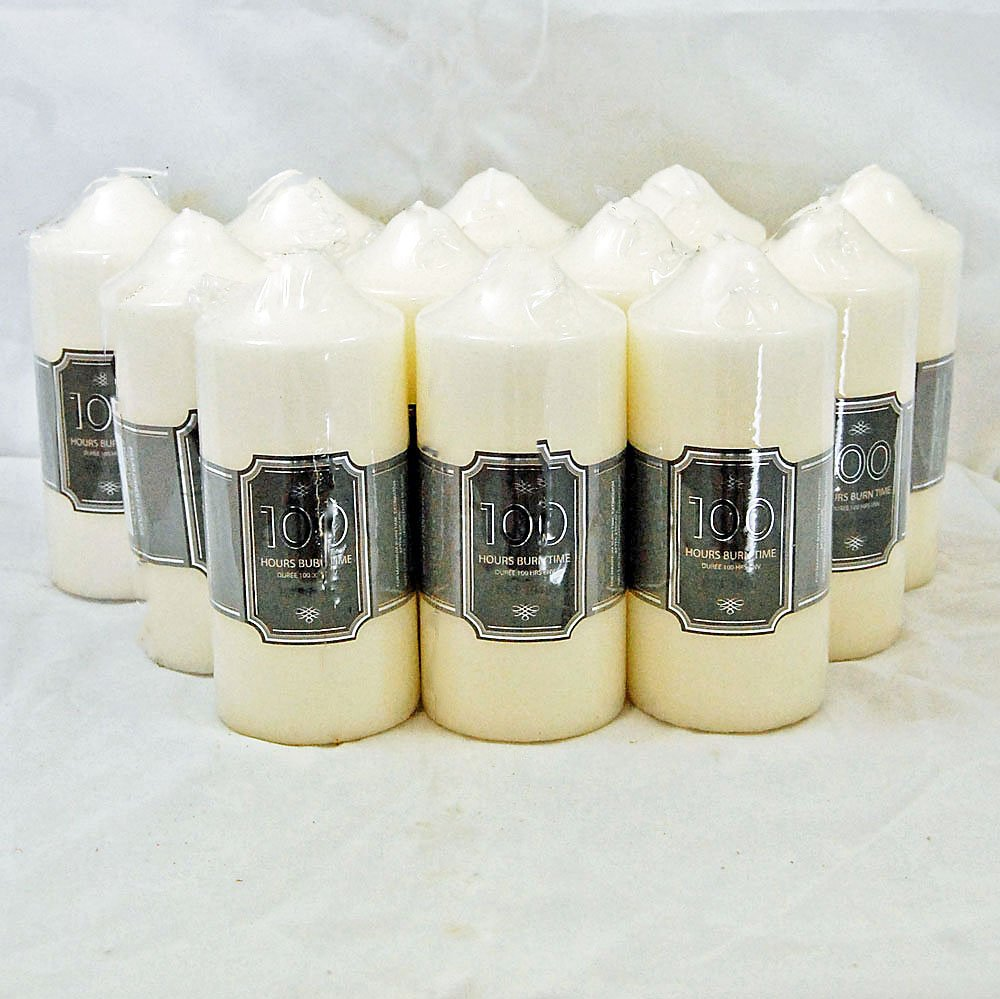 Set Of 12 Church Candle 100 Hour Ivory Wedding Non Drip Candle Classic Pillar