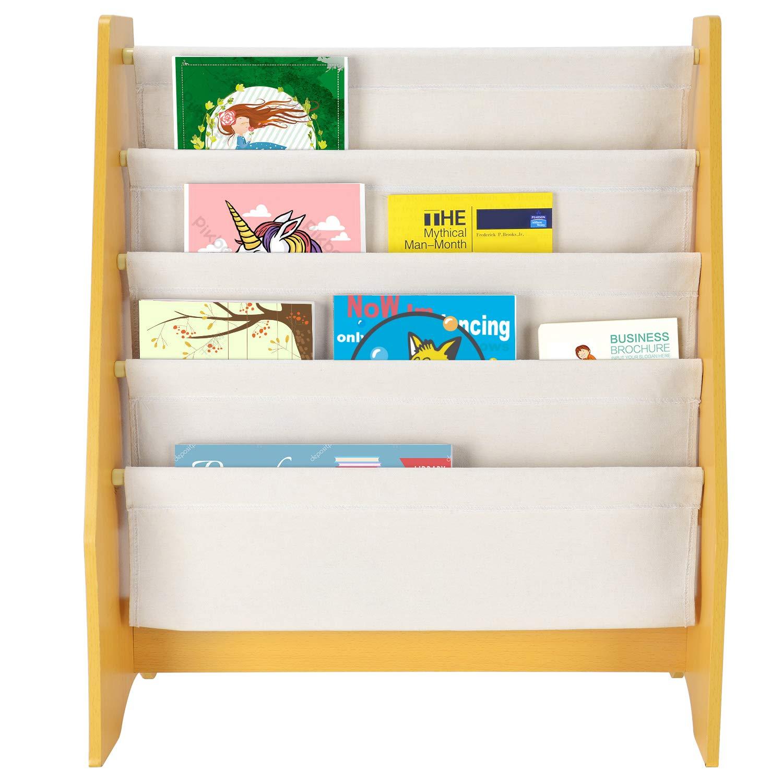 SortWise R Kids Book Rack Storage Sling Bookshelf 4 Tier For Toy Display Natural Primary