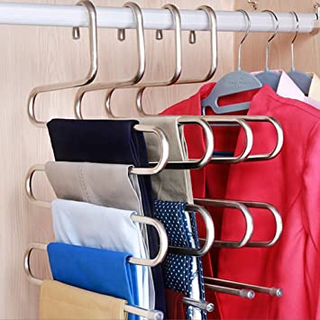 Great DOIOWN S Type Stainless Steel Clothes Pants Hangers Closet Storage Organizer  For Pants Jeans Scarf