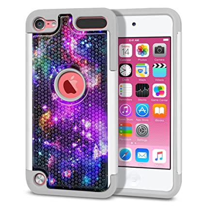 the latest 0d785 f2413 FINCIBO Case Compatible with Apple iPod Touch 5 6th Generation, Dual Layer  Football Skin Hybrid Protector Case Cover Anti-Shock TPU for iPod Touch 5 6  ...