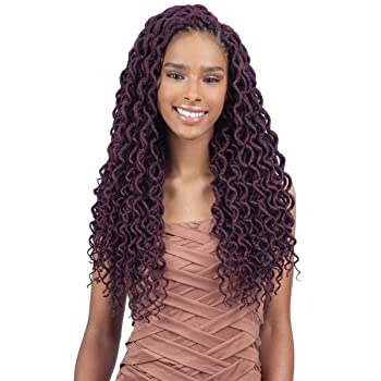 "FreeTress 2X Soft Curly Lite Faux Loc Crochet Synthetic Braiding Hair (18"", 1B)"