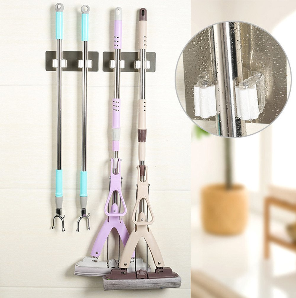 KFSO Broom Mop Holder, Wall Mounted Mop Broom Organizer, Self Adhesive & Reusable Bathroom Kitchen Storage Organizer, Suitable for Ceramic Tile, Plastic, Glass, Metal, Wood & More