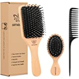Boar Bristle Hair Brush and Comb Set for Women Men Kids, Best Natural Wooden Paddle Hairbrush and Small Travel Styling Brush
