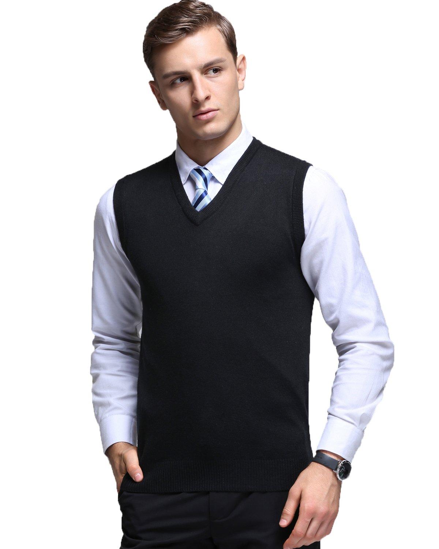 Kinlonsair Mens Casual Slim Fit Solid Lightweight V-Neck Sweater Vest,Black,X-Large(US)