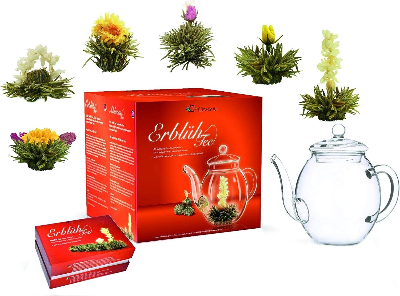 """Mix de flores de té, set para regalo """"Té Floreciente"""" con tetera de vidrio de Creano / té blanco (6 variedades diferentes)"""