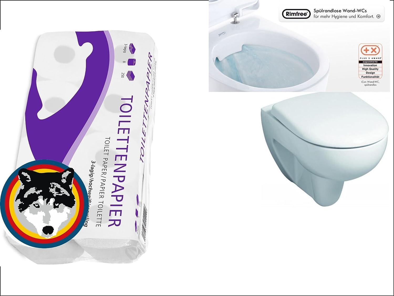 Haro WC Sitz SOFTCLOSE 8er Toilettenpapier Wand WC Keramag Renova Nr.1 Keratect sp/ülrandlos