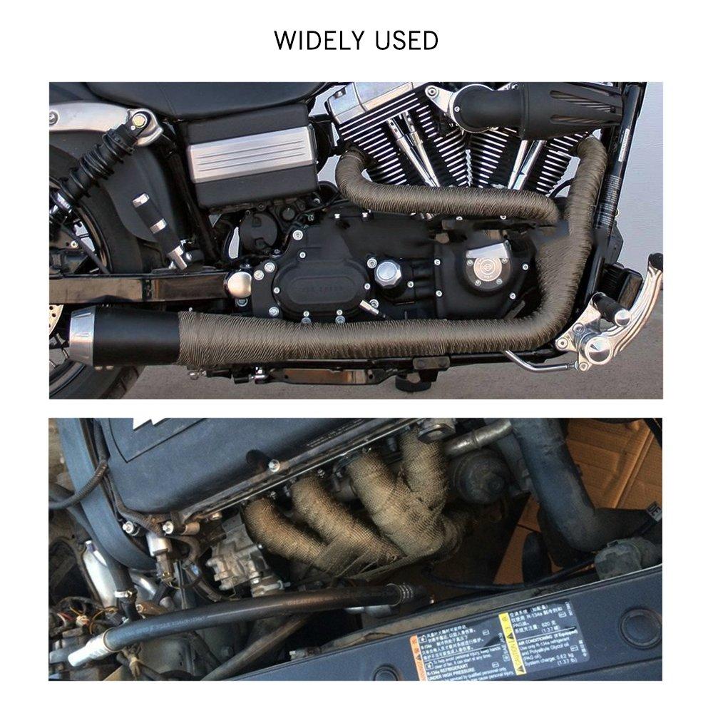 Houkiper Auspuff Header Wrap Kit with10Pcs Metall Kabel Locking Ties Feuerfest Band f/ür Motorrad Auto 10M