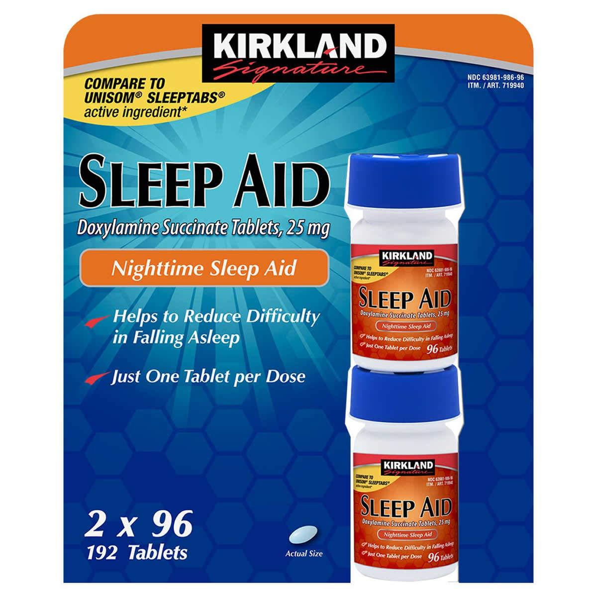 Kirkland Signature Sleep Aid Doxylamine Succinate 25 Mg, 192-Count (Pack of 3)