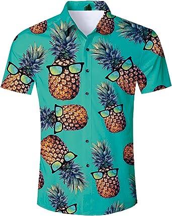 TUONROAD Camisa Hawaiana para Hombre 3D Piña Gato Camisas de Playa Manga Corta Casual Camisas M-XXL: Amazon.es: Ropa y accesorios
